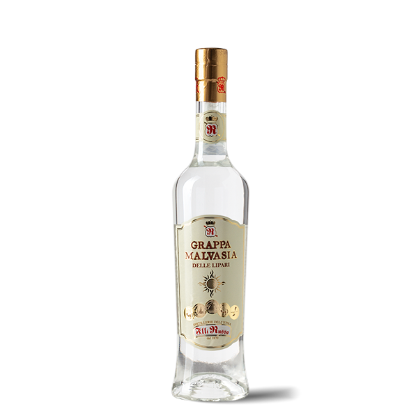 Grappa Malvasia is obtained from Malvasia, a typical grape variety of the Lipari islands, with very sweet and delicately scented grapes.