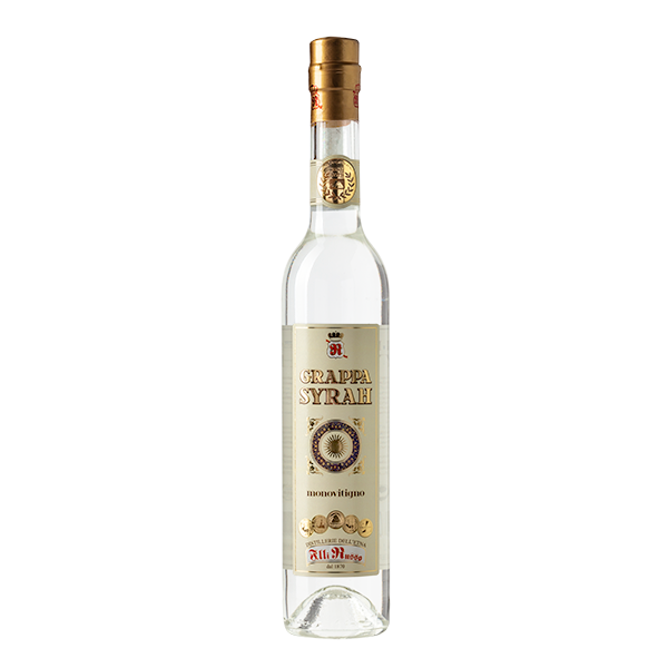Grappa Syrah, obtained with a vine from the Middle East that loves warm climates. In Sicily heat and soil have created a unique product